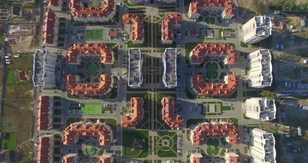 zoning : Aerial, 4K Flying above and inside new residential area Stock Footage