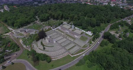 filmagens : Aerial filming of Lychakiv Military Cemetery of Polish soldiers in Lviv city. Aerial view of Lviv Military Cemetery of Eaglets