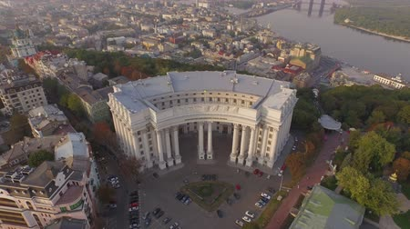 vztahy : Ministry of Foreign Affairs of Ukraine near the Dnieper river. Aerial view. Aerial footage of Ukraines Ministry of Foreign Affairs. Different shots.