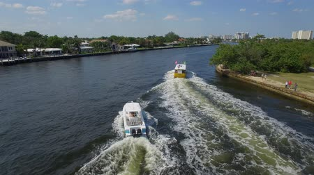 natura : Aerial view of a sea boats that moving through channel. Fort Lauderdale, Florida Wideo