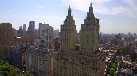 overlooks : The Eldorado twin-towered luxury housing cooperatives near Central Park. Flying in New York city