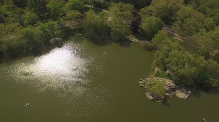 центральный : Flying above the lake at the Cental park in New york city. Aerial view of Central Park in New York City. Drone filming. Стоковые видеозаписи