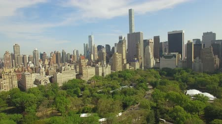 центральный : Flying above the Cental park in New york city. Amazing aerial picture. (80 m) Aerial view of Central Park in New York City. Drone filming. Стоковые видеозаписи