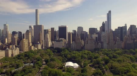 dron : Flying above the Cental park in New york city. Amazing aerial picture. (80 m) Aerial view of Central Park in New York City. Drone filming. Wideo