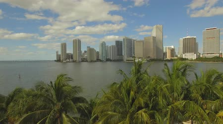 drone : Aerial View of Downtown Miami. Cloudy and sunny day. Florida, USA. Aerial view from bay Stock Footage