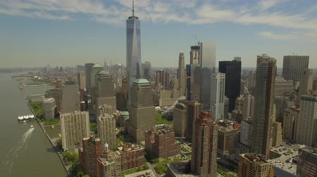 drone : Flying around Lower Manhattan with new world trade centre building in the middle. New York city aerial filming