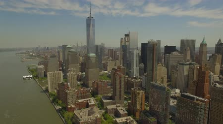 new world : Flying around Lower Manhattan with new world trade centre building in the middle. New York city aerial filming