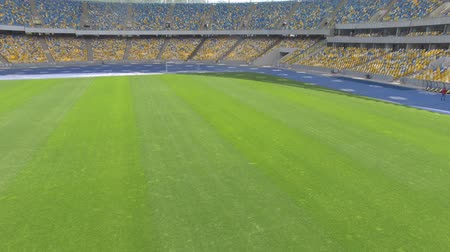 forma : Landing on the field of a huge modern stadium.
