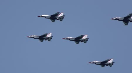 sas : Group of military fighter planes flying over the coast. Air show, Florida, USA Stock mozgókép
