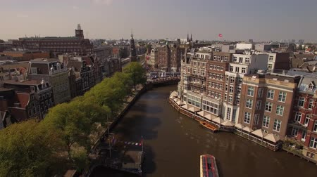amsterodam : Amsterdam aerial sightseeing. Flying above old center district. 4K