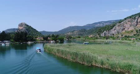 archeological : Boat river tour. Dalyan, Turkey, 4K. Stock Footage