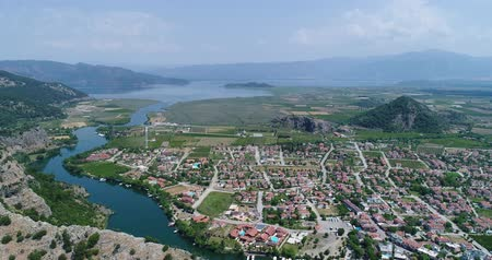 archeological : Aerial view of Dalyan town. Turkey, 4K.