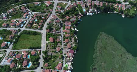 hrobky : Aerial view of Dalyan town. Turkey, 4K.