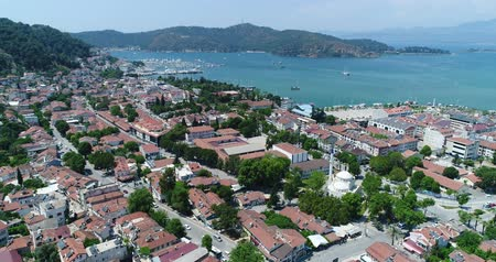 archeological : Aerial view of Fethiye town. Turkey, 4K.