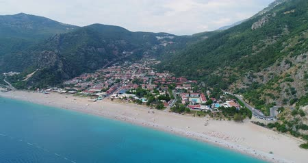 fethiye : Aerial. Flying above Oludeniz town and seacoast. Turkey, 4K.