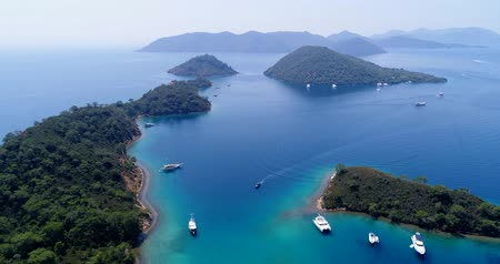 waters : Amazing aerial view of crystal clear blue water. Turkey.