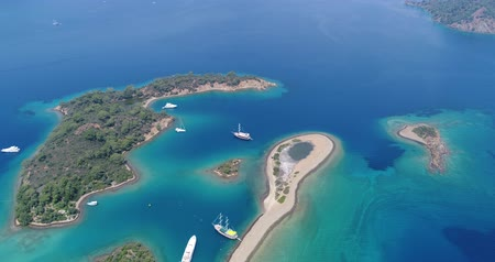 Amazing aerial view of crystal clear blue water. Turkey.