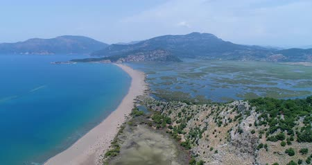 Aerial view. Iztuzu or Turtle Beach and the delta of Dalyan river. Turkey, 4K.