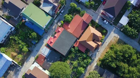 gyertyafa : Aerial View: Flying over the tropical coast. Fisherman house. Sriracha, Thailand. December 2017.