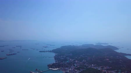 Aerial view of the sea pier of tropical beach on the island Ko Si Chang. Thailand. Stock Footage