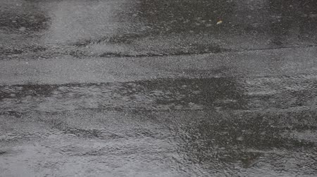 typhoon : Rain on parking lot, asphalt on rainy day