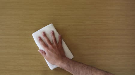 getting ready : Man hands wiping table with towel Stock Footage