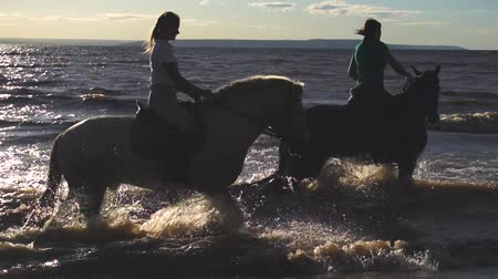 lovas : Two women ride on horse at river beach in water sunset light