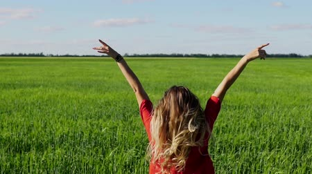 özgürlük : Happy woman enjoying nature blonde girl over sky and field. Freedom concept.