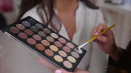cienie do powiek : Close up shot of make up artist taking eye shadows from make-up palette by brush Wideo