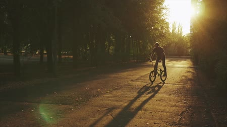 převrátit : Young man riding on a circle at a short distance on a bicycle BMX.
