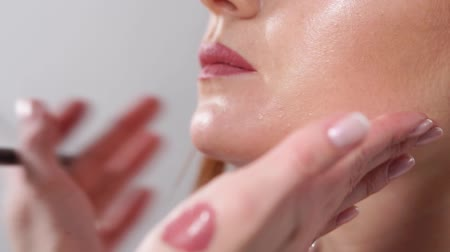 zvýrazňovač : close up shot of the face of a young woman, a professional make-up artist applies with the help of a pencil lip liner, a shade of cosmetics of natural color Dostupné videozáznamy
