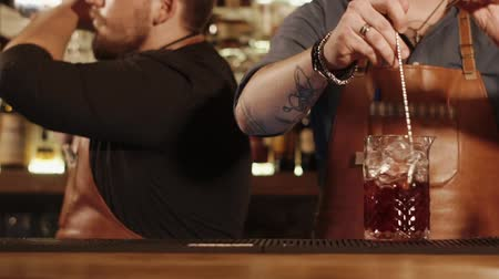 shaker : Barmans are working behind bar rack. One man is shaking mixed drinks in shakers, second man is mixing cocktail in a large glass with ice Stock Footage