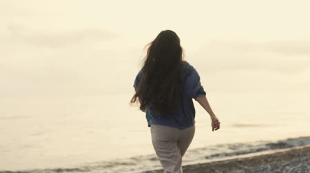 voetstappen : Shot from behind of a energetic woman with long brunette hairs running to the water on the beach. Beautiful evening.