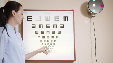 wzrok : Young cheerful eye doctor is showing symbols on a table hanging on a wall in cabinet. She is talking and holding pointer in hand, smiling for patients Wideo