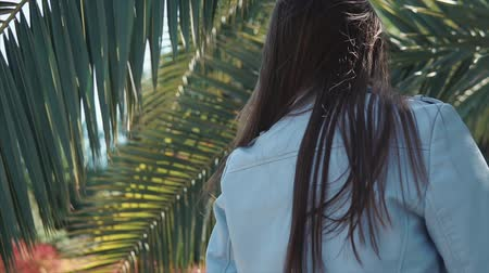 trópicos : Portrait of a pretty brunette woman taking a walk among palms on tropics. Charming female hiding behind palm leaves. Stylish clothes.