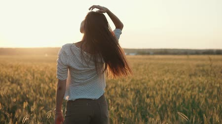 dikkatli : Slim brunette woman is standing back to camera and looking on horizon with sunset. She is touching her long hair, camera is moving Stok Video