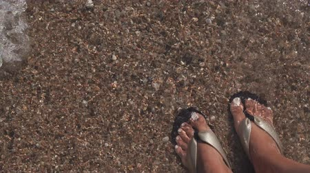 sandalet : Close-up of female feet shod in flip flops in water of sea on a beach. Woman is moving her fingers funny and waves are washing legs Stok Video
