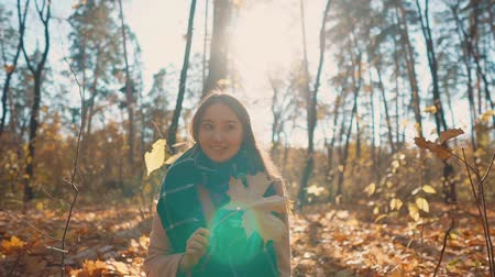 grimacing : Young woman is sitting in woodland alone, taking yellowed maple leave. She is smiling and grimacing, closing her face Stock Footage