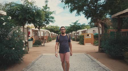 grimacing : Male vacationer is strolling alone over pedestrian path near small living houses in a village in summer day. He is moving to camera and looking forward Stock Footage