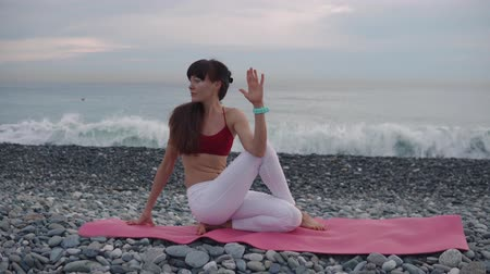 sobre : Brunette calm woman is making gymnastic static exercises on sea shore. She is keeping fit and caring about her health Stock Footage