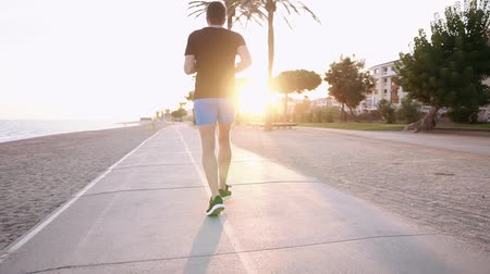 velocista : Back view of an active guy running along the beach wearing sportswear. Evening run on a shore, athletic guy jogging. Archivo de Video