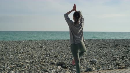 seixo : Slim athletic girl is training in daytime in coast of sea. She is lifting hands up and keeping balance on one leg, back view Stock Footage