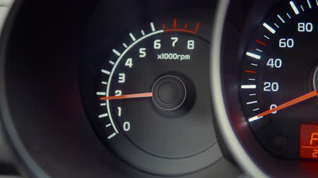 kilometer : Speedometer hands approaching high-speed. Cars speed accelerating. Speedometer on cars dashboard. Engines rotation speed. Red arrow on speedometer.