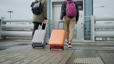 chlapík : Back view of walking passengers with suitcases, approaching to lift Dostupné videozáznamy