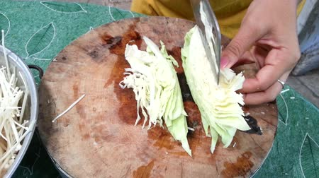 repast : Cabbage vegetable split on wood cutting board
