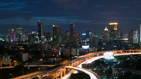 Night time and transportation with fireworks in Bangkok city Thailand, Cityscape Timelapse 4k