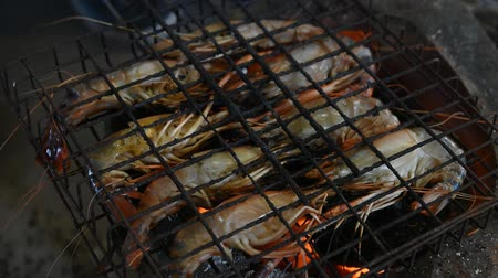 Grilled shrimp (Giant freshwater prawn) grilling with charcoal