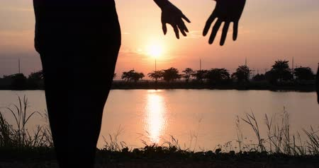 contornos : Silhouette of walking couple. Man and women go hand in hand outdoors on a sunset sky background. Along with the glittering golden water surface Vídeos