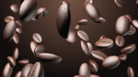 kahve çekirdeği : Coffee beans drop closeup slow motion with alpha, depth