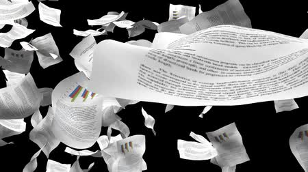 бумага : Document papers chaos blowing with alpha, depth